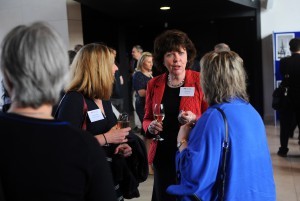 Angela Burgess chatting with attendees at the Wales Gene Park 10th Anniversary.