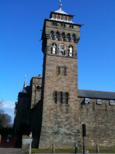 Cardiff Castle clock tower.